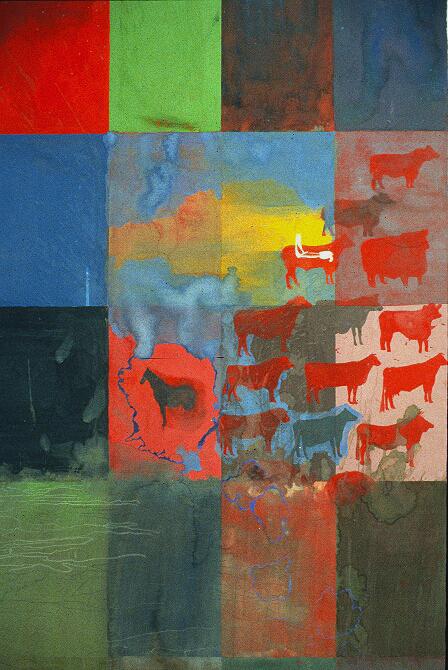 gouache quilt - cows